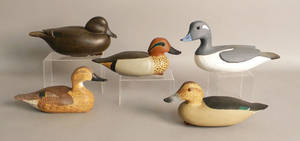 Group of five duck decoys to include two teals