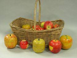 Woven Wicker Basket with Painted Wooden Appleform Containers