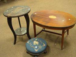 Regencystyle Oval Mahogany Inlaid Low Table an Asian Carved Hardwood Table and a Needlepoint Upholstered Footstool