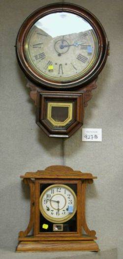 Ingraham Co Late Victorian Oak and Eglomise Kitchenette Shelf Clock and a Connecticut Grained Regulator Wall Clock