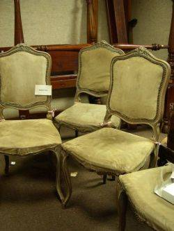 Set of Four Louis XV Style Carved Walnut and Upholstered Side Chairs
