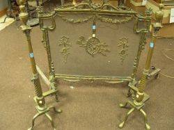 Louis XVI Style Brass Firescreen and a Pair of Neoclassicalstyle Brass Andirons
