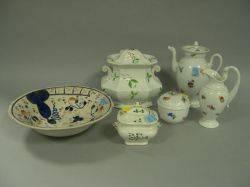 ThreePiece Meissen Floral Decorated Porcelain Demitasse Set and Three Pieces of English Ceramic Tableware