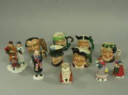 Six Royal Doulton Miniature Ceramic Character Jugs and Five Miniature Ceramic Collectible Figures
