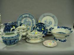 Thirteen Pieces of Assorted 19th Century Transfer Decorated Ceramic Tableware
