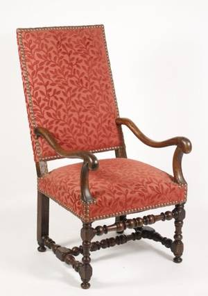French Louis XIII Walnut Carved Fauteuil