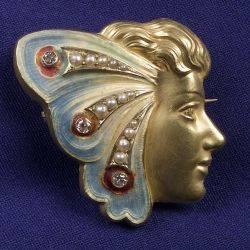 Art Nouveau Enamel Diamond and Seed Pearl Watch Pin