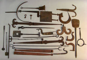 Group of wrought iron hinges