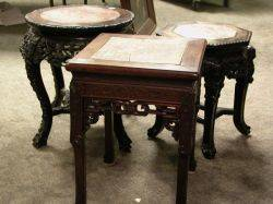 Four Chinese MarbleInset and Carved Hardwood Stands
