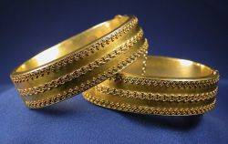Pair of Etruscan Revival 14kt Gold Bangles