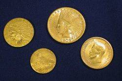 Group of Four American and Russian Gold Coins