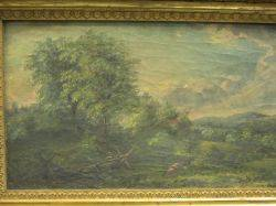 Framed 19th Century Oil on Canvas Cows in Landscape