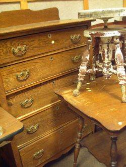 Oak Tall Chest of Drawers a Late Victorian Oak Occasional Table and a Piano Stool with Metal Talon and Glass Ball Feet