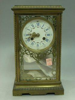 Continental Brass and Glass Mantel Clock with Enameled Dial