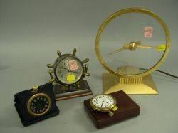 Jefferson Mystery Clock a Small Chelsea Desk Clock a John Bennett Ltd Travel Clock and a Waltham Watch
