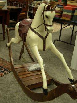 Large White Painted Carved Wooden Rocking Horse with Leather Saddle and Harness