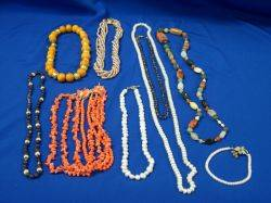 Group of Pearl Coral Hardstone and Other Beads