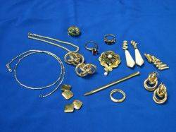 Assortment of Gold Jewelry and Accessories
