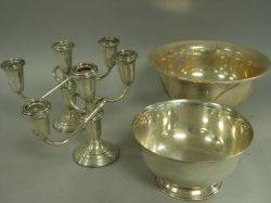 Two Sterling Silver Reverestyle Bowls and a Pair of Sterling Silver Candelabra