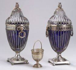 Pair of Sheffield Silver and Cobalt GlassLined Covered Urns and a German Silver Plated Glass Lined Sugar Basket