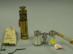 Small German Lacquer Decorated Brass Draw Telescope and a Pair of MotherofPearl Opera Glasses
