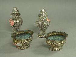 Pair of Gorham Sterling Silver Open Salts and a Pair of Sterling Silver Pepper
