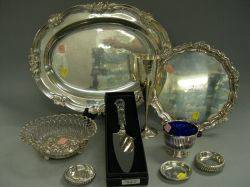 Group of Miscellaneous Silver Plated and Sterling Silver Table Articles