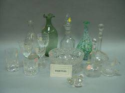 Approximately Twentytwo Pieces of Assorted Cut and Etched Colorless Glassware with a Collection of Colorless Glass Stoppers