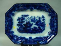Large Flow Blue Ceramic Platter