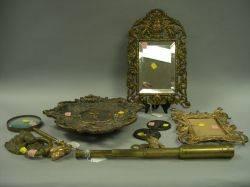 Nine Assorted Cast Bronze Brass and Giltmetal Items