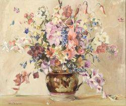 Ruth A Anderson American 18841939 Floral Still Life in Pink and Purple