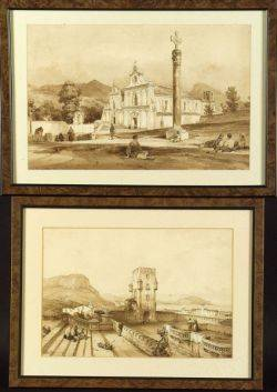 Achille Vianelli Italian 18031894 Lot of Two Works Including The Basilica and An Overlook