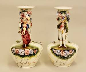Pair of French Majolica Vases
