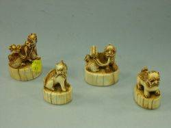 Four Asian Carved Ivory Dragon Figural Seals