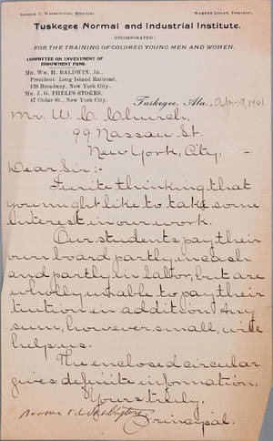 Booker T Washington signed hand written letter dated April 9 1901