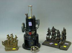 Pair of Cast Iron Old Ironsides Bookends a Brass Sailing Ship Bookend and a Marv Painted Metal Robert Fulton Line Steam Engine Mod