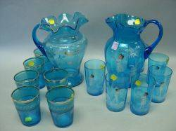 SevenPiece Mary Gregory Enamel Decorated Blue Glass Lemonade Set and a Victorian SevenPiece Gilt and Enamel Decorated Blue Glass Lemo