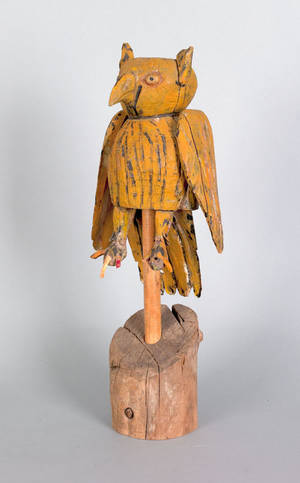 Carved owl decoy early 20th c