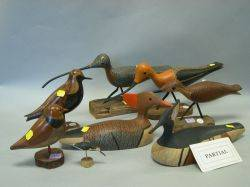 Thirteen Carved and Painted Wooden Shore Birds and Decoys