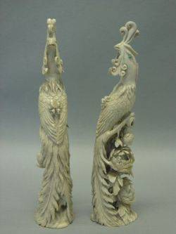 Pair of Asian Carved Ivory Exotic Birds