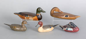 Group of five Illinois River miniature duck decoys mid 20th c