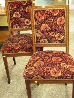 Pair of Art Deco Veneered and Upholstered Side Chairs