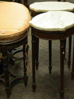 Louis XVI Style Carved Walnut Bench a Pair of White Marbletop Stands and a Tabouret