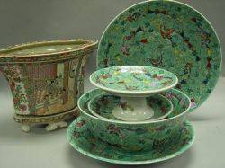 Set of Five Chinese Export Style Green Glazed Porcelain Compotes Chargers and Bowl with a Chinese Export Porcelain Jardiniere on Stan