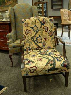 Queen Anne Style Mahogany Upholstered Wing Chair and a Federalstyle Crewelwork Upholstered Mahogany Library Chair