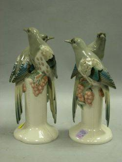 Pair of Royal Dux Porcelain Bird Figural Groups