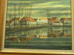Framed Oil View of a Village on a Canal