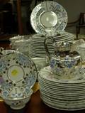 107 Piece Assembled Wedgwood Silver Resist Ceramic Partial Dinner Service