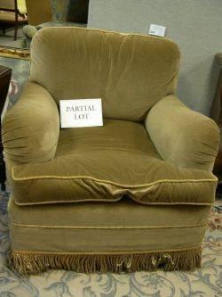 Pair of Contemporary Velvet Upholstered Easy Chairs