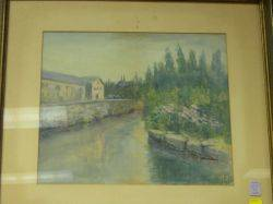 Framed Watercolor View of a Village by a Canal